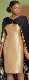 Donna Vinci 11802 Ladies Church Dress With Cape Style Jacket Trimmed In Rhinestones