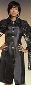 Donna Vinci 11803 Novelty Silk Look Fabric Dress Trimmed With Black Stones And Satin Strapping