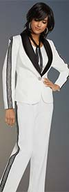 Donna Vinci 11806 Shawl Lapel Womens Pant Suit Trimmed With Guipure Lace