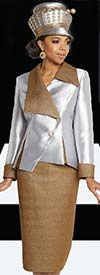 Donna Vinci 11808 Womens Church Suit With Asymmetric Style Jacket In Silk Look & Gold Metallic Fabric