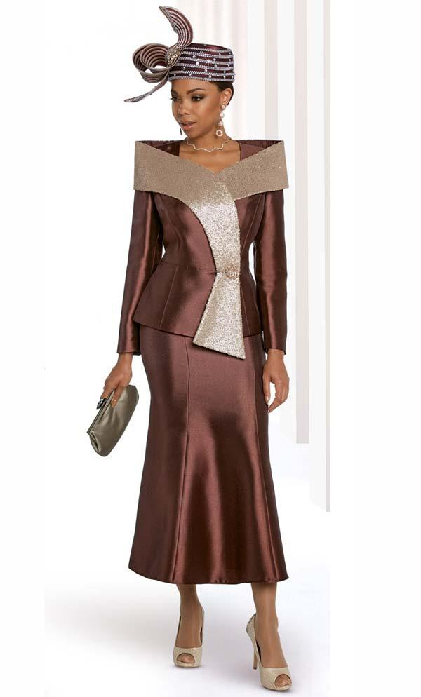 Donna Vinci 11810 Flared Skirt And Jacket Set With Over Shoulder Gold Sequined Adornment