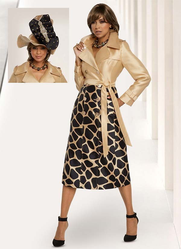 Donna Vinci 11812 Solid Bodice Wide Lapel Dress And Giraffe Style Print With Sash