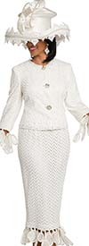 Donna Vinci 11813 First Ladies Church Suit With Organza Satin Petal Fringes & Chevron Pattern Design