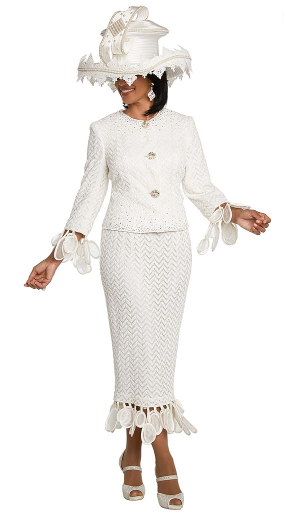 Donna Vinci 11813 First Ladies Church Suit With Organza Satin Petal Fringes & Chevron Pattern Design