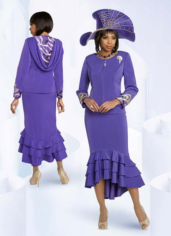 Donna Vinci 11814 Ladies Church Suit With Triple Flounce Skirt And Applique Organza Insets