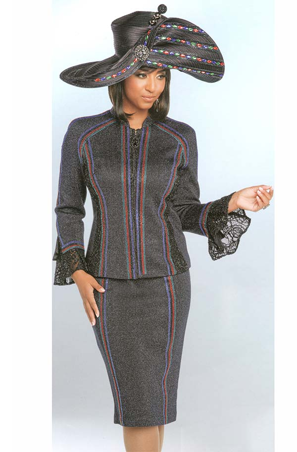 Donna Vinci 13262 Lace Bell Cuff Sleeve Jacket & Skirt Suit In Knitted Lurex Yarn With Multicolor Rhinestone Design