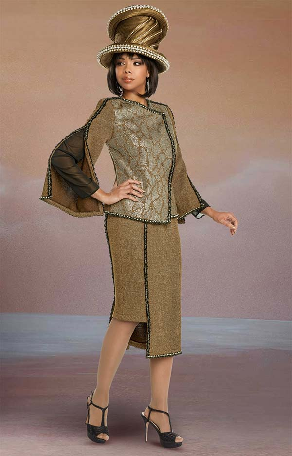 Donna Vinci 13264 Asymmetric Style Skirt Suit In Knitted Lurex Yarn With Split Chiffon Lined Sleeve Jacket