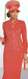 Donna Vinci 13265 Knitted Lurex Yarn And Metallic Novelty Fabric Nehru Collar Skirt Suit With Rhinestones