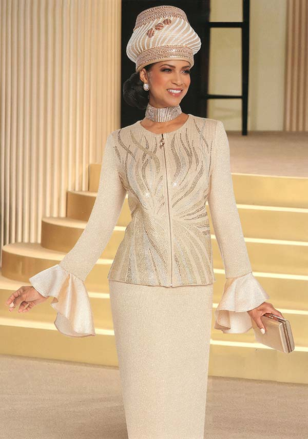 Donna Vinci 13266 Skirt Suit In Knitted Lurex Yarn With Bell Cuff Sleeve Rhinestone Embellished Jacket