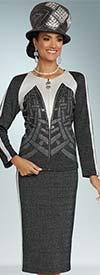 Donna Vinci 13267 Side Striped Jacket & Skirt Suit In Knitted Lurex Yarn With Elaborate Rhinestone Design