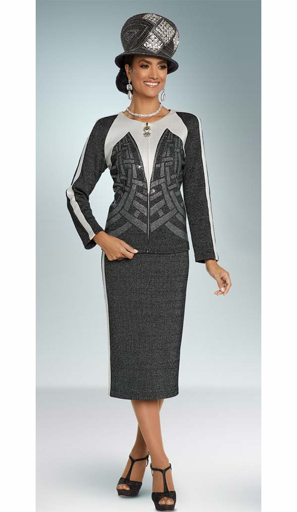 Donna Vinci 13267 Side Striped Jacket & Skirt Suit In Knitted Lurex Yarn With Elaborate Rhinestone Design