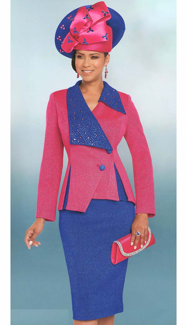 Donna Vinci 13268 Skirt Suit In Knitted Lurex Yarn With Asymmetric Style Royal & Fuchsia Rhinestone Embellished Jacket