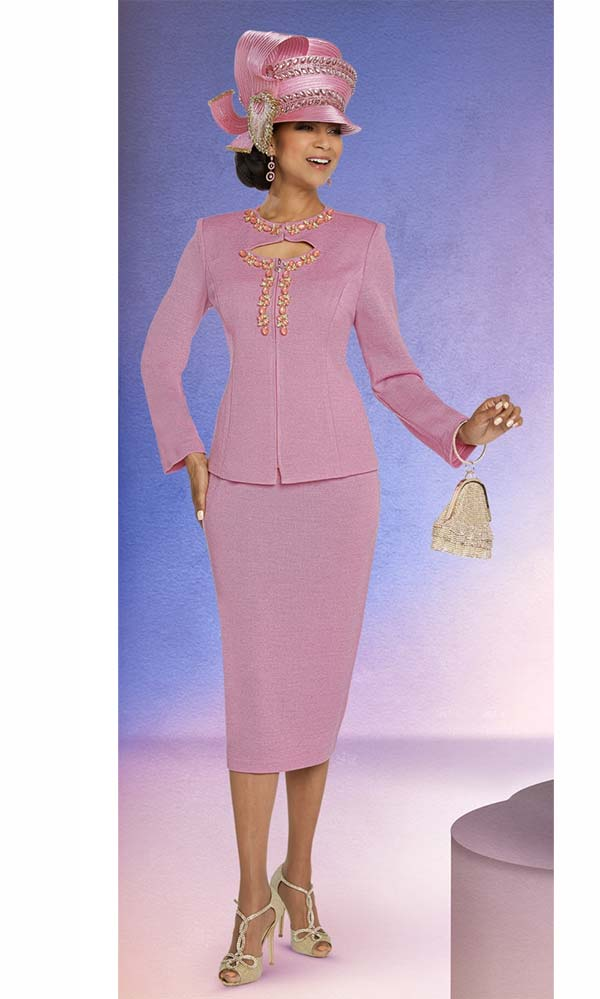 Donna Vinci 13270 Skirt Suit In Knitted Yarn Fabric With Multi Size Rhinestone Embellished Keyhole Neckline Jacket