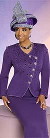 Donna Vinci 13271 Womens Knit Skirt Suit With Rhinestone Embellished Wrap Style Jacket