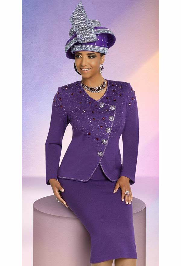Donna Vinci 13271 Womens Knit Skirt Suit With Rhinestone Embellished Wrap Style Jacket