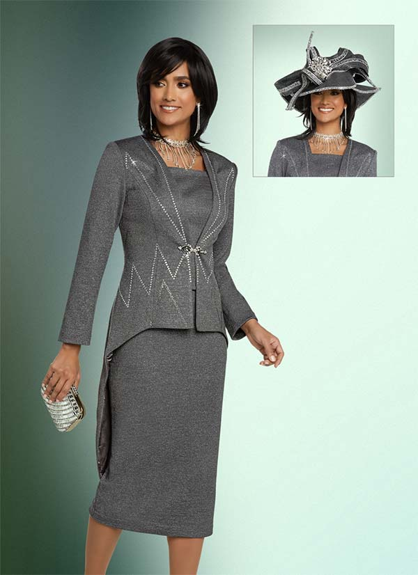 Donna Vinci 13272 Embellished Skirt Suit In Knitted Lurex Yarn Fabric With Hi-Lo Style Jacket