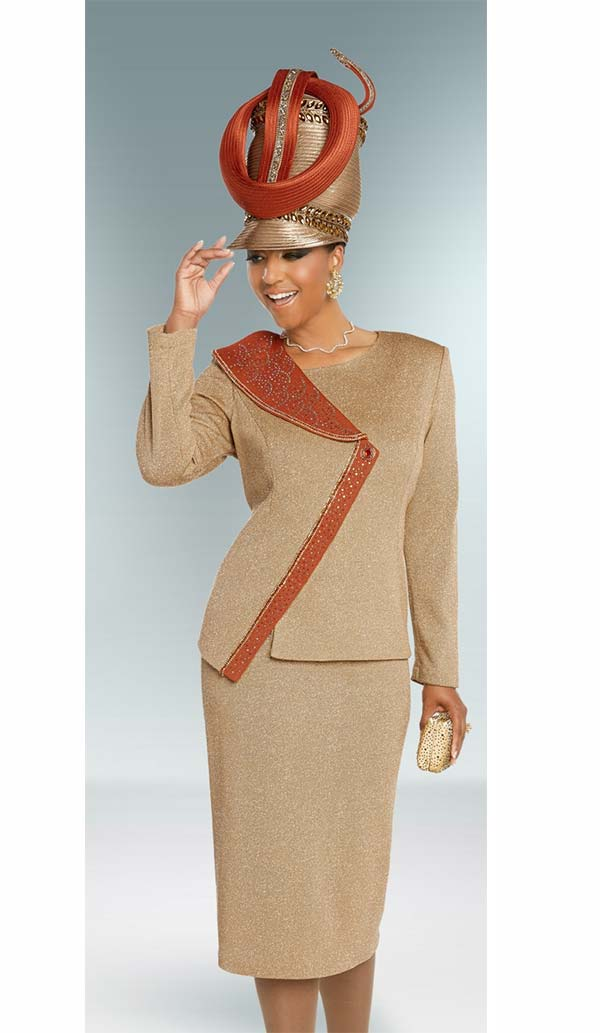 Donna Vinci 13274 Skirt Suit In Knitted Lurex Yarn Fabric With Multi Color Rhinestone Embellished Asymmetric Wrap Jacket