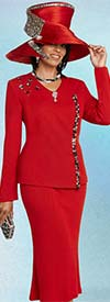 Donna Vinci 13275 Flared Skirt Suit In Knitted Yarn With Multi Size Rhinestone Embellished Jacket