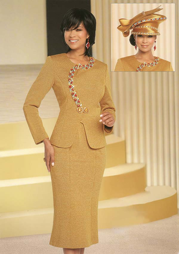 Donna Vinci 13276 Flared Skirt Suit In Knitted Lurex Yarn With Multi Color Rhinestone Embellished Jacket