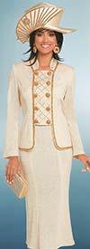 Donna Vinci 13277 Knitted Lurex Yarn Flared Skirt & Golden Gravel Trimmed Jacket With Ten Rhinestone Buttons