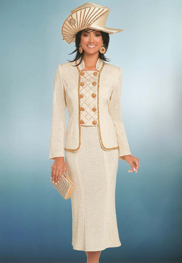Donna Vinci 13277 Knitted Lurex Yarn Flared Skirt & Golden Gravel Trimmed Jacket With Ten Rhinestone Buttons