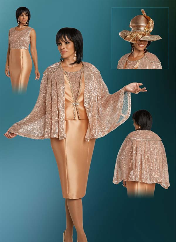 Donna Vinci 5632 Womens Church Dress With Sequin Trimmed Cape Style Jacket