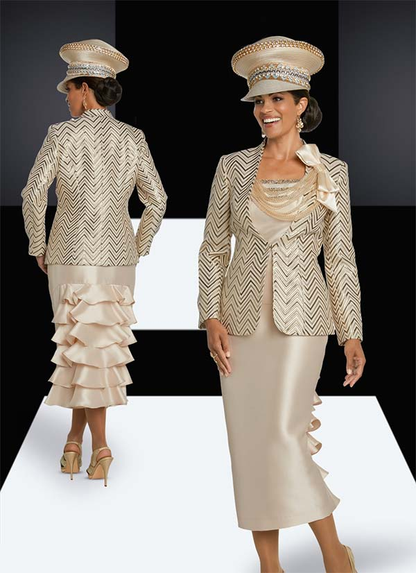 Donna Vinci 5633 Ruffle Adorned Skirt Suit With Rhinestone Trimmed Necklace Jacket In Chevron Pattern