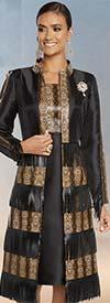 Donna Vinci 5635 Python Print Long Jacket And Dress Set With Fringe Leatherette Trims
