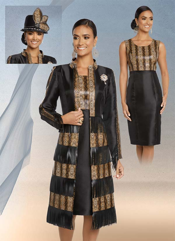 Donna Vinci 5635 Python Print Long Jacket And Dress Set With Fringe Leatherette Trims