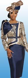 Donna Vinci 5636 Womens Skirt Suit With Shoulder Bow Adorned Asymmetric Jacket