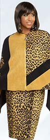 Donna Vinci 5638 Animal Print Jacket And Dress Set In Faux Suede Fabric