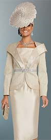 Clearance Donna Vinci 5639 Novelty Silk Look Fabric Skirt Suit With Rhinestone Trimmed Over Shoulder Lapels