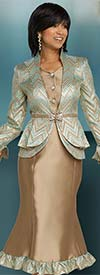 Donna Vinci 5640 Womens Chevron Pattern Jacket And Flared Skirt Suit With Ruffled Trims
