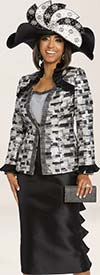 Donna Vinci 5641 Three Piece Womens Suit With Pleated Ruffle Skirt & Trims