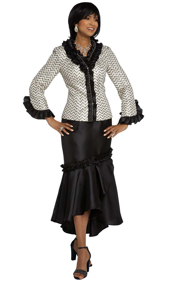 Donna Vinci 5644 Flounce Hem Skirt & Chevron Pattern Jacket With Ruffled Trims