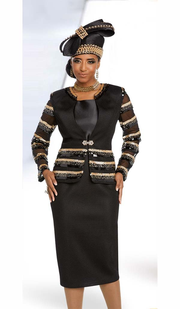 Donna Vinci 5645 Womens Three Piece Skirt Suit With Repeating Gold Trim Design