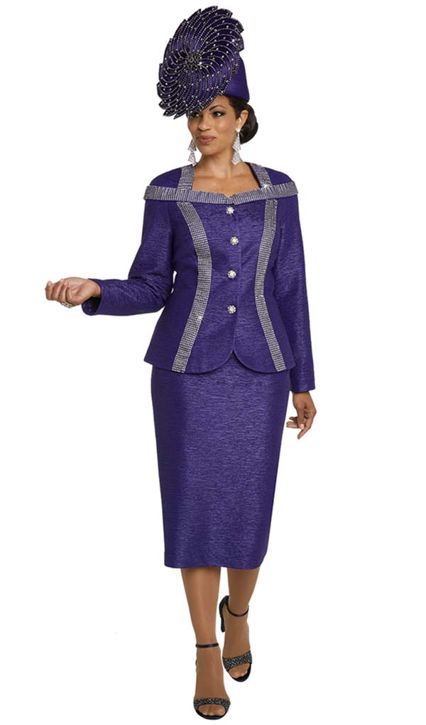Donna Vinci 5647 Two Piece Womens Suit With Elaborate Trims & Buttons