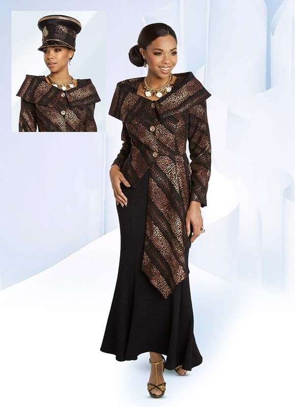 Donna Vinci 5648 Animal Printed Half Duster Portrait Collar Jacket And Flared Skirt Suit