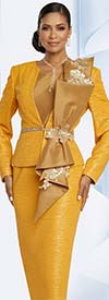 Donna Vinci 5649 Womens Three Piece Skirt Suit With Large Bow And Laced Sequin Trims