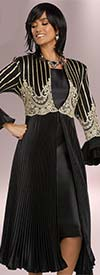 Donna Vinci 5650 Long Pleated Gold Guipure Lace Adorned Jacket And Dress Suit