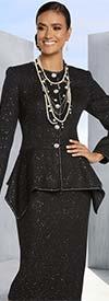 Donna Vinci 5652 Boucle' Fabric Silver Trimmed Skirt Suit With Sharkbite Hem Jacket