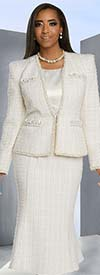 Donna Vinci 5653 Embellished Jacket & Flared Skirt Set In Boucle' Fabric With Sateen Camisole