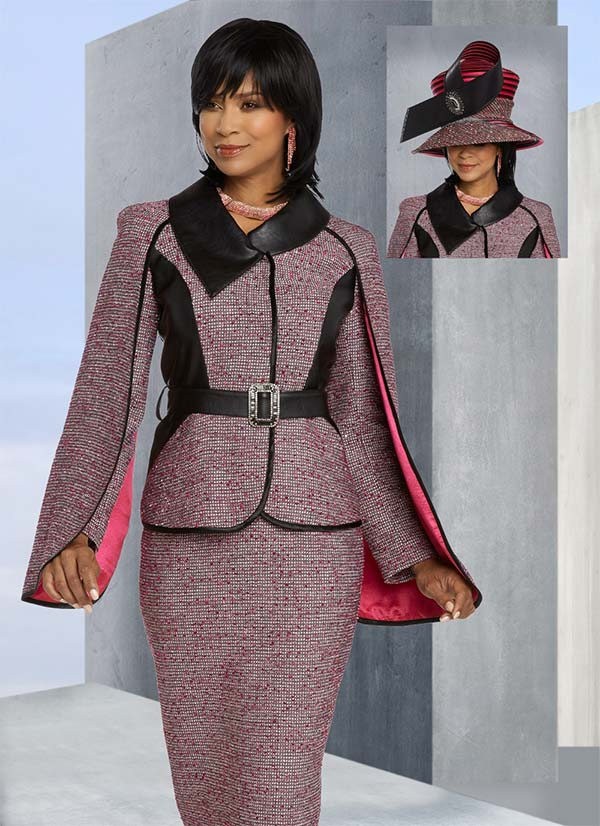 Donna Vinci 5654 Satin Lined Cape Sleeve Jacket & Skirt Set In Boucle' Fabric With Leatherette Acccents