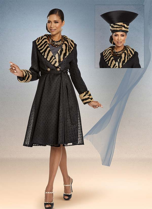 Donna Vinci 5655 Faux Tiger Fur Trimmed Jacket And Dress Set In Embroidered Polka Dot Mesh Fabric