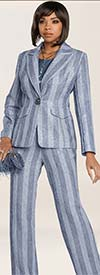 Clearance Donna Vinci 5656 Womens Pant Suit With Stripes And Silver Inset Sequins
