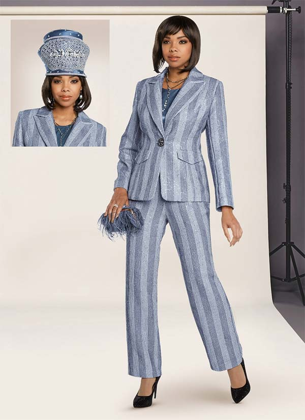 Donna Vinci 5656 Womens Pant Suit With Stripes And Silver Inset Sequins