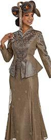 Donna Vinci 5657 Layered Skirt Suit With Swan Neckline Peplum Jacket