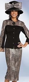 Donna Vinci 5658 Animal Printed Sequins Fabric Skirt And Jacket Suit With Cape Style Sleeves
