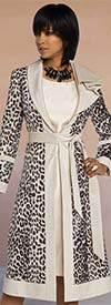 Donna Vinci 5661 Leopard Print Jacket And Dress Set With Sash In Soft Novelty Fabric