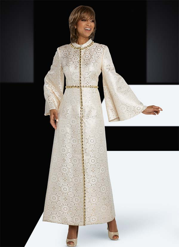 Donna Vinci 5662 Long Bell Sleeve Church Dress With Rhinestone Trims In Novelty Snowflake Pattern Fabric